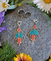 Afghan Coral and Turquoise Silver Magnetic Clasp Gauged Earrings