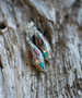 Afghan Silver Coral and Turquoise Magnetic Clasp Gauged Earrings