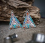 Afghan Silver Coral, Lapis and Turquoise Magnetic Clasp Gauged Earrings