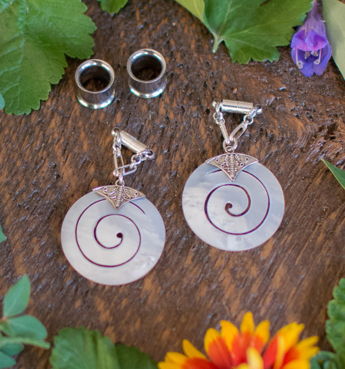 Sterling Silver Mother of Pearl Spiral Magnetic Clasp Gauged Earrings