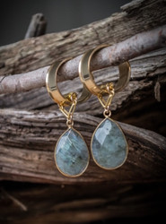 Faceted Labradorite Magnetic Clasp Gauged Earrings