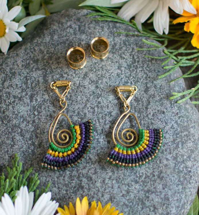 String Wrapped Macrame Magnetic Clasp Gauged Earrings