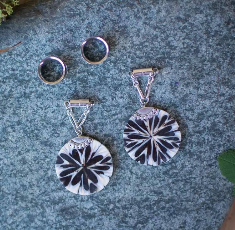 Sterling Silver and Shell Magnetic Clasp Gauged Earrings