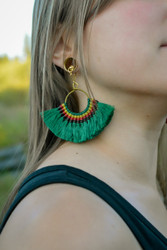 Dark Green Fan Tassle Magnetic Clasp Gauged Earrings