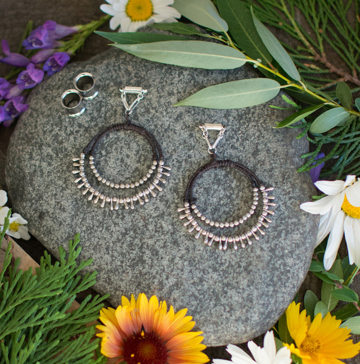 Available in Purple/Black - Wire and Macrame Magnetic Clasp Gauged Earrings