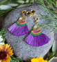 Available in Purple, Blue and Grey - Fan Tassle Macrame Magnetic Clasp Gauged Earrings