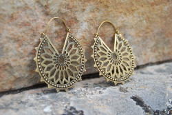 Large Ornate Brass Hoops Earrings