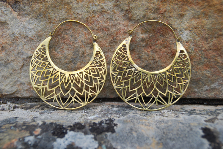 Large Intricate Brass Hoop Earrings