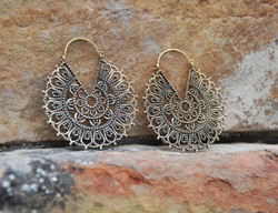 Ornate Mandala Brass Hoops Earrings