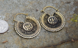 Lotus Flower Mandala Brass Earrings