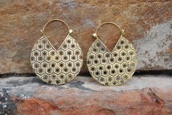 Large Honeycomb Brass Hoop Earrings
