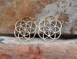 Seed of Life Brass Earrings