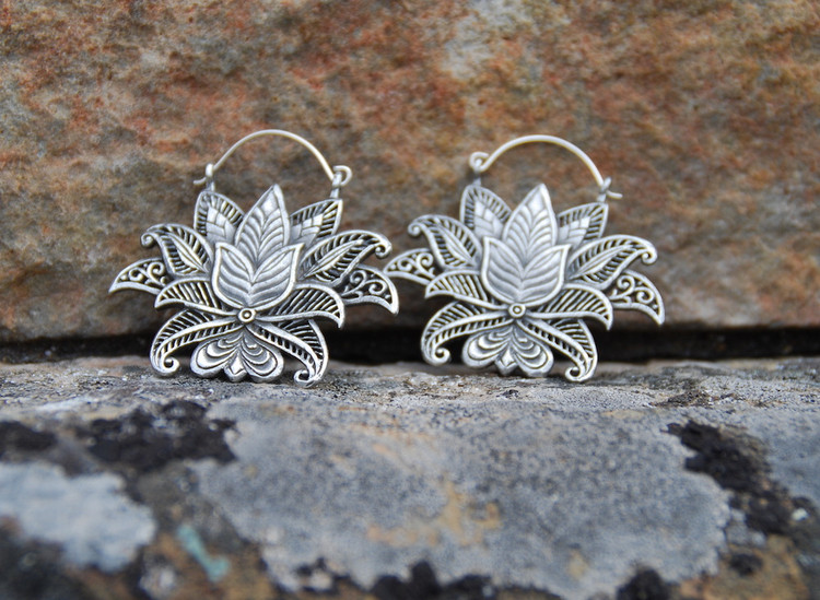Lotus Flower White Brass Earrings