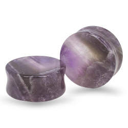 Amethyst Double Flared Plugs