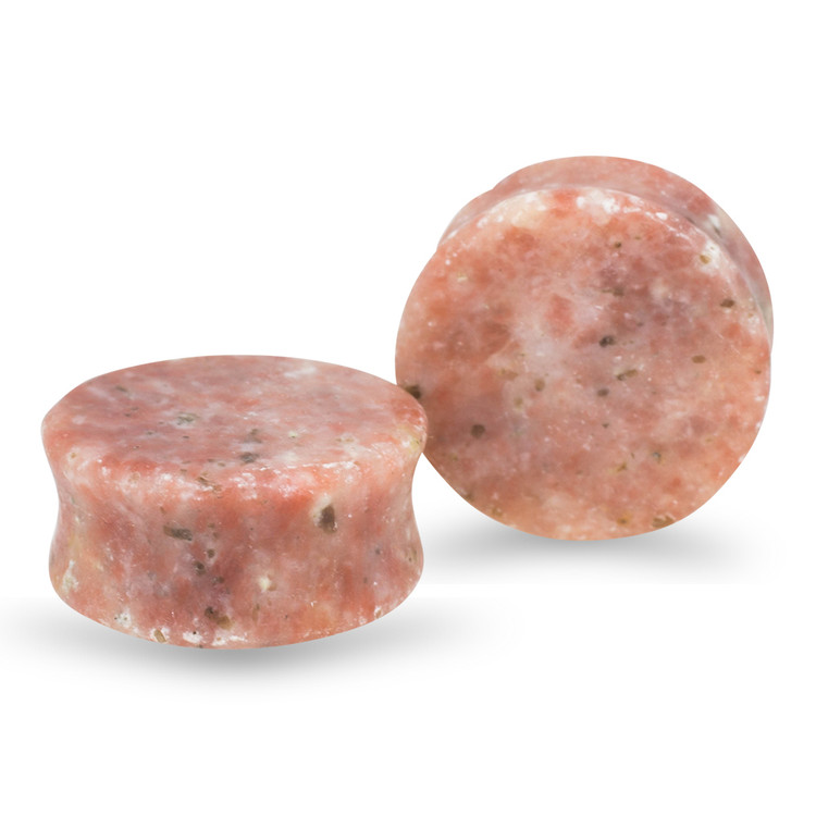 Pink Chinese Jasper Double Flared Plugs