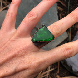 Sea Glass Electroformed Ring