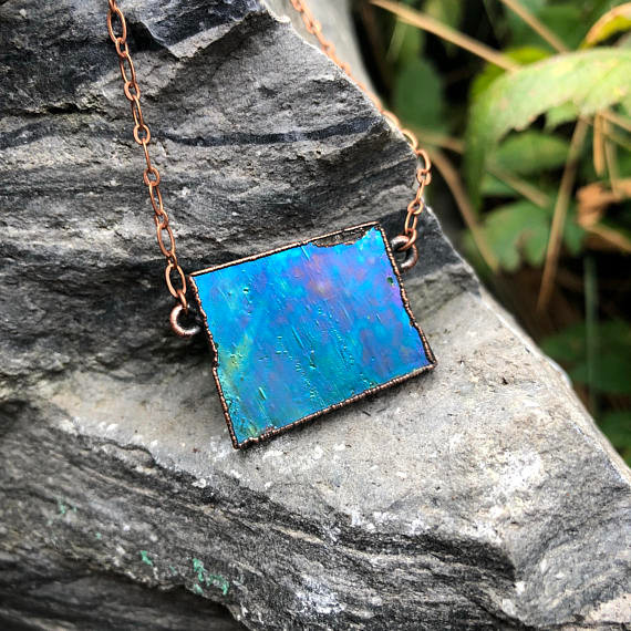 Blue and Green Stained Glass Electroformed Copper Necklace