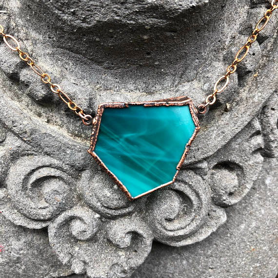 Teal Stained Glass Electroformed Copper Necklace