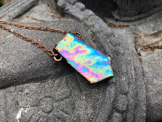 Electroformed Blue Stained Glass Copper Necklace