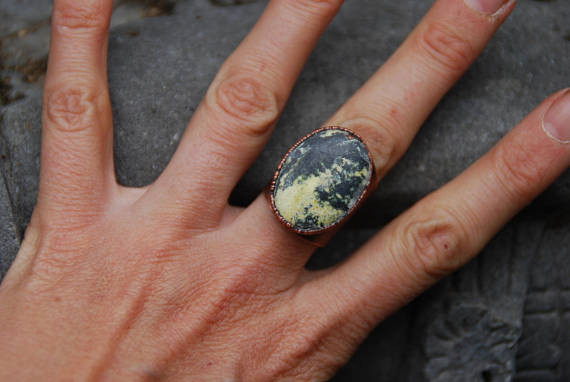 Yellow Turquoise Electroformed Ring