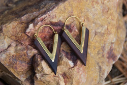 Brass and Wood Triangle Hoop Earrings