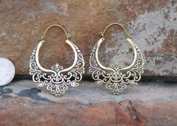 Ornate Boho Brass Hoop Earrings
