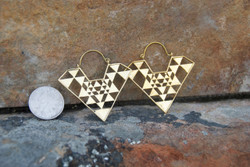 Modern Geometrical Boho Brass Hoop Earrings