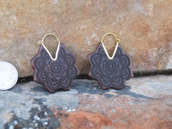 Wooden Lotus Flower Hoop Earrings