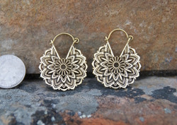 Brass Flower Mandala Hoop Earrings