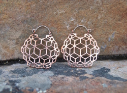 Geometrical Copper Hoop Earrings