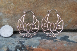 Copper Lotus Hoop Earrings