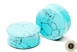 Synthetic Turquoise Stone Plugs- Double Flared