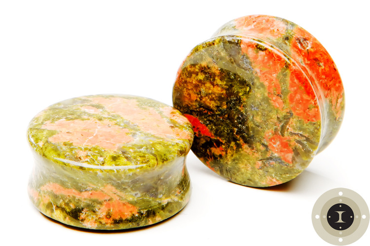 Unakite Stone Plugs - Double Flared