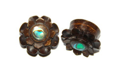Palm Wood Flower Plugs With Abalone Inlay