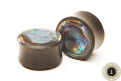 Ebony Wood Plugs inlayed with Abalone
