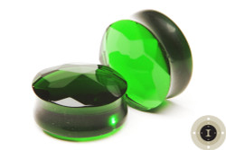 Green Faceted Glass Plugs