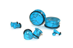 Synthetic Turquoise Single Flare Stone Plugs