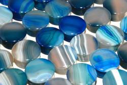 Blue Agate Stone Single Flared Plugs