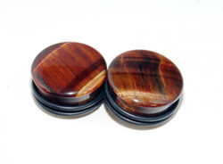 Red Tigers Eye Single Flared Plugs