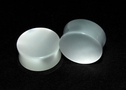 White Cats Eye Plugs - Double Flared Plugs