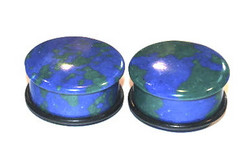 Single Flared Azurite Stone Plugs