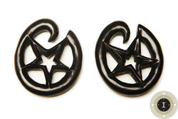 Ebony Wood Star Hoops