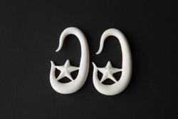 Bone Star Hoop Gauged Earrings