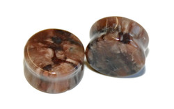 Double Flared Petrified Wood Plugs -