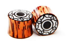 Palm Wood Plugs with Flower Inlay