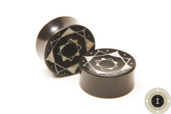Ebony Wood Plugs with White Inlay