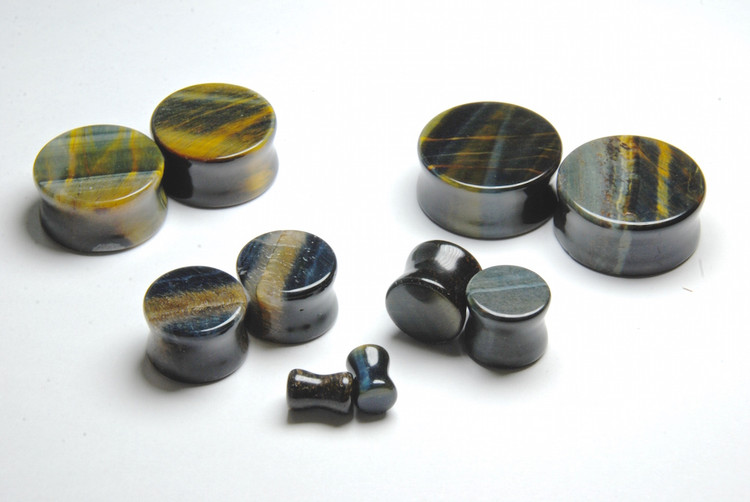 Double Flared Blue Tigers Eye Plugs