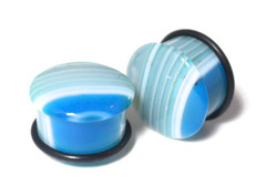 "Gorgeous One of a Kind Blue Agate Plugs 3/4"" (19mm)"