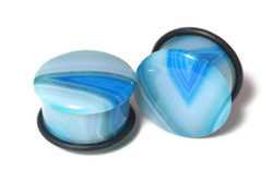 Single Flared Blue Agate Ear Plugs