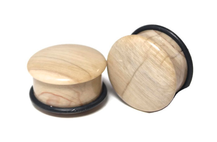 Petrified Wood Plugs, Beige color,7/8""